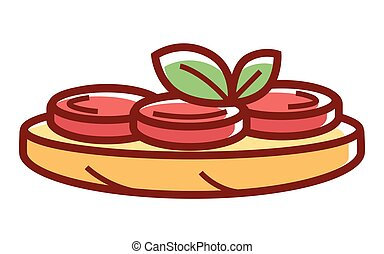 Tasty bruschetta with ripe tomatoes and green herbs isolated cartoon flat vector illustration on white background. Traditional Italian common folk dish made of grilled bread and organic vegetables.