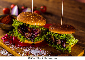 Tasty burger, American traditional cuisine