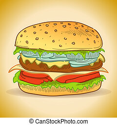 Classic cheeseburger with beef and lettuce illustration