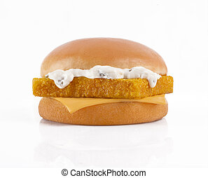 tasty burger with fish fillet on a white background