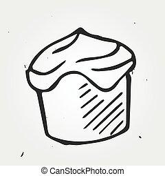 Tasty cake hand drawn