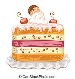 Tasty cake with cherry and biscuit on white background