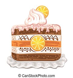 Tasty cake with chocolate and orange on white background