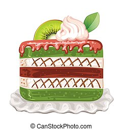 Tasty cake with kiwi on white background