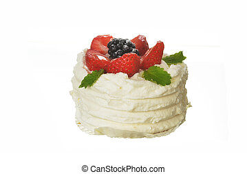 tasty cake with white icing and strawberries isolated
