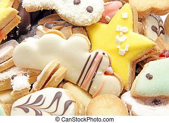 Tasty cakes on a tray