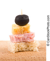 Tasty canape on a white background