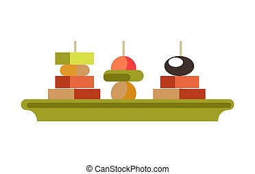 Tasty canape sandwishes on green plate isolated illustration