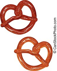 Delicious pretzel with topping cartoon food design.