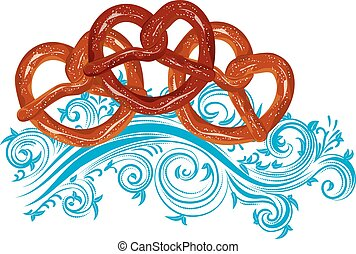 Tasty Cartoon Pretzel - Delicious pretzel with topping...