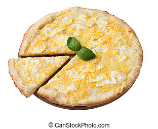 Tasty cheese pizza with slice isolated