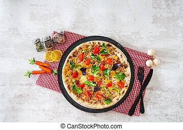 tasty chicken pizza on a the table