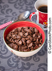 tasty chocolate cornflakes in thel bowl