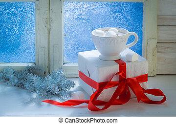 Tasty Christmas chocolate with marshmallows