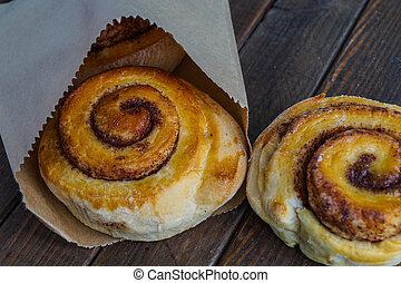 tasty cinnamon buns ready for a treat