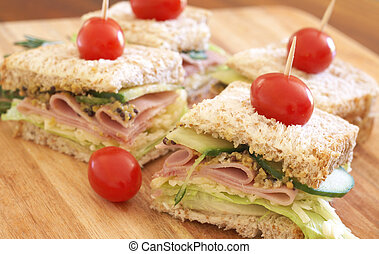 Tasty club sandwich on wholewheat bread