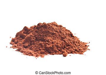 Tasty cocoa powder. - Tasty cocoa powder isolated on white...