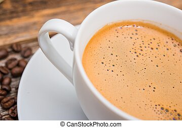 Tasty Coffee Break. Fresh Hot Coffee in Small White Coffee...