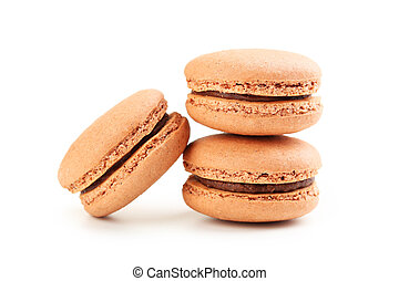 Tasty coffee macarons isolated on white