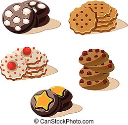 Tasty Cookies. Set of Cartoon Vector Icons.