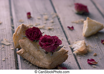 tasty cookies with dry roses