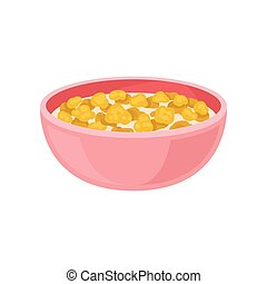 Tasty corn flakes with milk in pink bowl. Appetizing breakfast. Food theme. Flat vector design