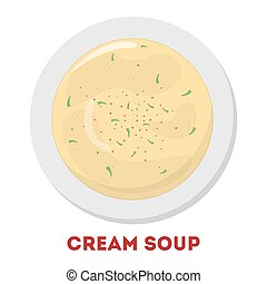 Tasty cream soup in a bowl. White food in the plate