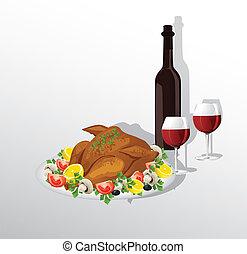 Tasty crispy roast turkey or hen and vegetables, and wine
