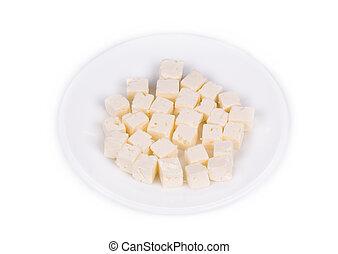 Tasty cubed feta cheese.