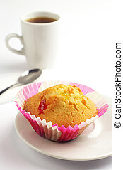 Tasty cupcake and coffee