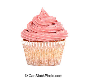 Tasty cupcake with pink frosting - Delicious fresh cupcake...