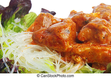 curry meat - tasty curry meat with rice noodles on plate