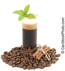 Tasty dessert with coffee beans