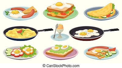 Tasty dishes with eggs set, fresh nutritious breakfast food, design element for menu, cafe, restaurant vector Illustrations on a white background