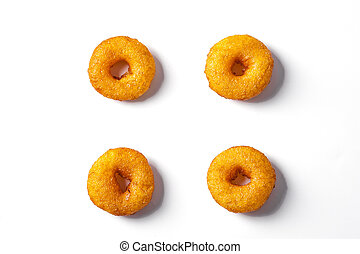 Tasty donuts isolated on white background. Top view