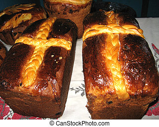 Tasty easter bread with cross