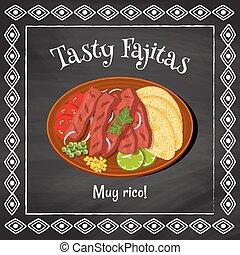 tasty fajitas - vector poster template on a chalkboard...