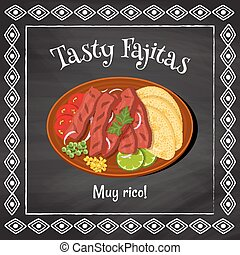 """vector poster template on a chalkboard background with fajitas illustration and spanish text """"muy rico"""" which is translated as """"very tasty"""""""