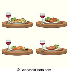tasty food and red wine