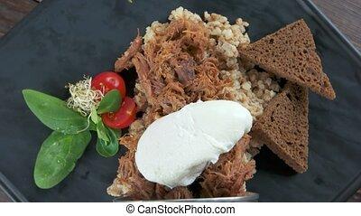 Tasty food, barley porridge. Cereal, meat and egg.