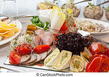 Tasty food - Healthy and fresh food on a glass plate