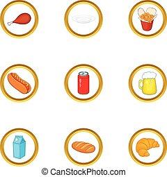 tasty food icons set cartoon style tasty food icons set