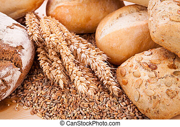 tasty fresh baked bread bun baguette natural food detal background