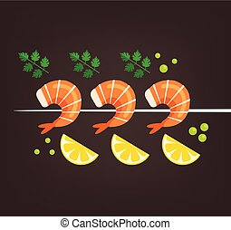 Tasty fresh cooked fried shrimps dish with lemon slice and paprika. Sea food nutrition concept. Vector flat cartoon isolated illustration