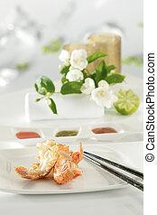 prawn - tasty fresh prawn in a white plate ready for eat.