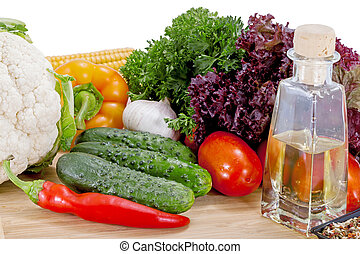 Tasty fresh vegetables for salad preparation