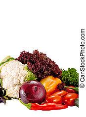 Tasty fresh vegetables for salad preparation isolated on white background