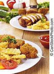 Tasty fried chicken kebob