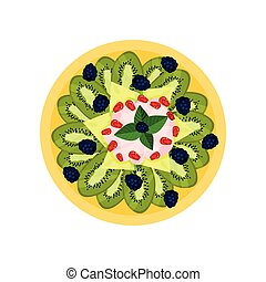 Tasty fruit dish. Sliced kiwi, melon, ripe blackberries and yogurt on yellow plate, top view. Delicious food. Flat vector icon