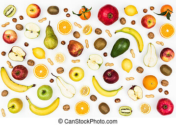 Tasty fruits and healthy eating background